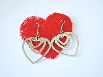 Ocel náušnice  srdce 15388