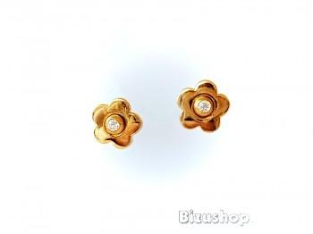 Náušnice zlaté štras kytičky 1,2 cm