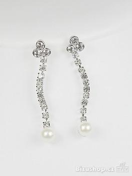Zyta Náušnice štrasové visací perla 2718