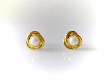 Náušnice zlaté bílá perla 6846