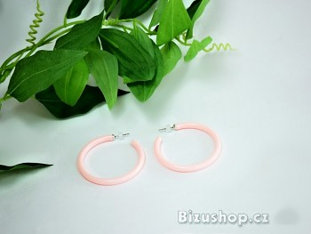 Plastové náušnice kruhy růžová 97801