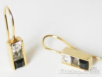 Náušnice zlatá úprava štras kameny 6998, Jablonecká bižuterie