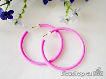Zyta Náušnice kruhy plastové Růžové 1041