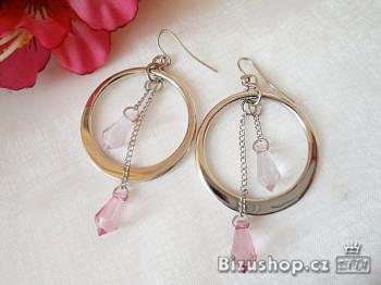 náušnice kruhy růžové 30063
