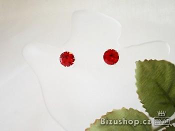 Štrasové náušnice pecičky červené
