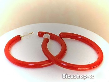 Zyta Plastové náušnice kruhy červené 97803