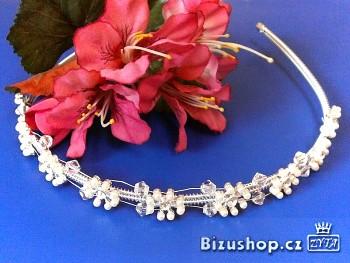 Štrasová čelenka s perličkami kytičky 300823