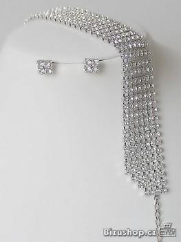 Souprava štrasová náhrdelník a náušnice 32230 Jablonecká bižuterie