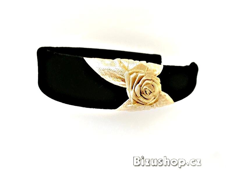 Čelenka černá sametová s růží ve zlaté barvě 54328 - Bizushop.cz b9fee15924
