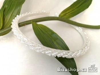 čelenka roztahovací , bílé perličky 004