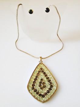 Zyta Souprava náhrdelník a náušnice zelená 2736