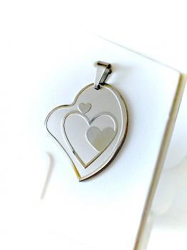 Přívěsek z chirurgické oceli srdce  15448