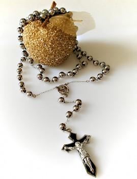 Růženec ocelový 18100  černý kříž