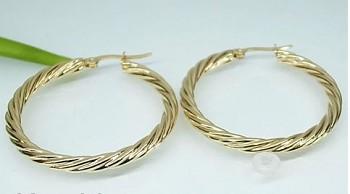 Náušnice Kruhy zlaté 3,8 cm z oceli 19739