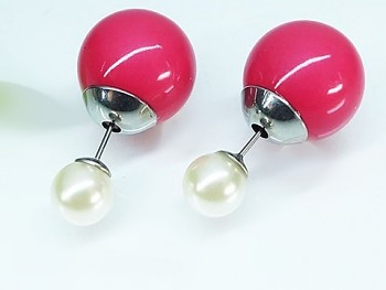 Náušnice ocelové růžová  Perla 19764