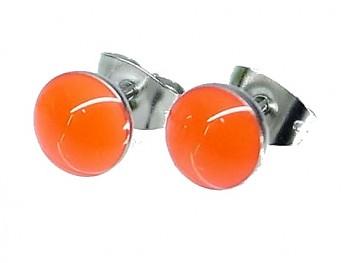 Náušnice oranžové pecky z oceli 19767