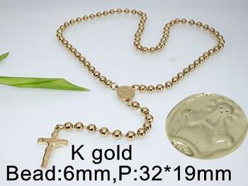 Růženec chirurgická ocel  zlatý 60cm