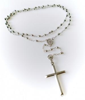 Růženec chirurgická ocel  18114 s decentním křížem