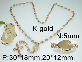 Růženec chirurgická ocel zlatý 18120