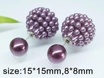 Náušnice ocel  oboustranné fialové  perličky 20250
