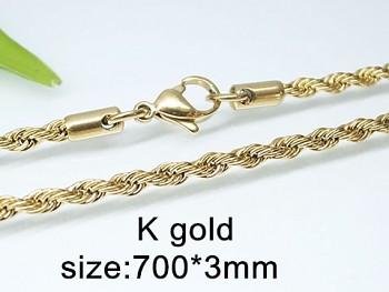 Zlatý ocelový řetízek 70 cm 20296