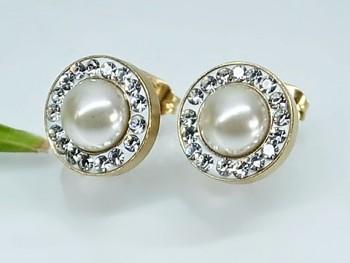 Náušnice ocel zlaté bílá perla 20293