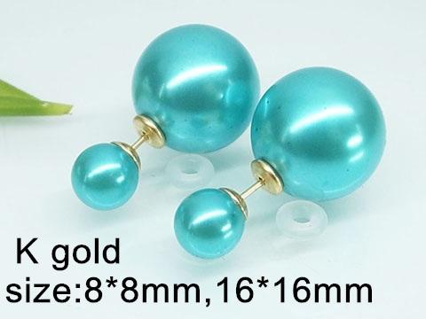 Náušnice z oceli tyrkysové perličky 20311 b3cb01c2412