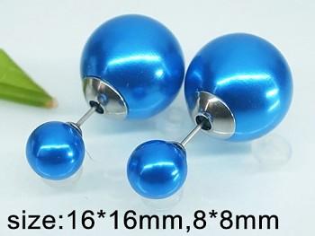 Náušnice  ocelové Perličky modré 20314