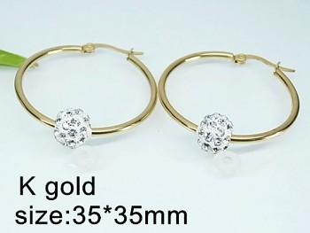 Náušnice chirurgická ocel Kruhy zlaté 20326A
