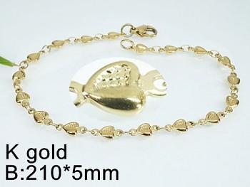 Náramek  ocelový  zlatý zdobený Srdce  20342