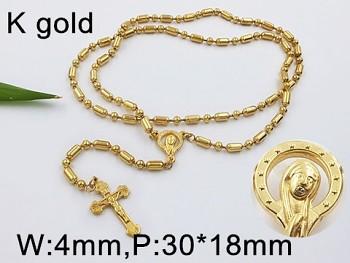 Růženec chirurgická ocel zlatá  65cm 18126