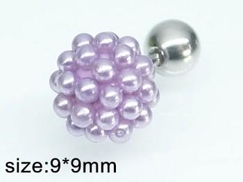 Piercing ocelový fialové perličky 20324
