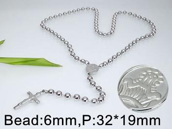 Růženec z chirurgické oceli stříbrný 18139