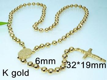 Růženec zlatý z chirurgické oceli 18128
