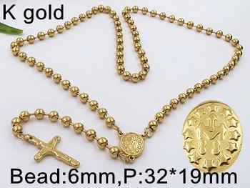 Růženec chirurgická ocel zlatá  18133