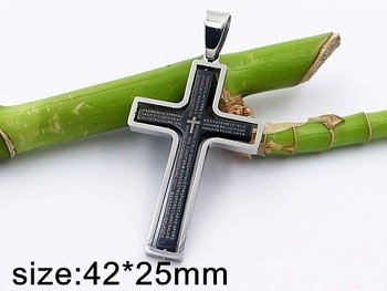 Přívěsek ocelový Kříž černý 20395