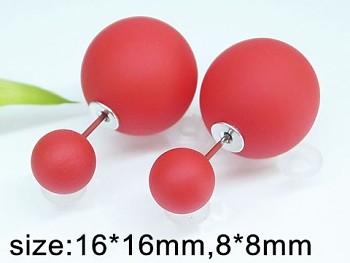 Náušnice chirurgická  ocel červené perly 20412