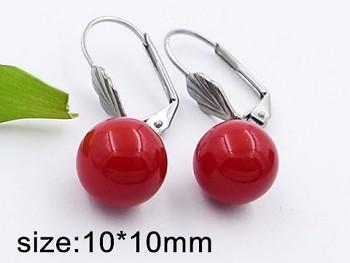 Náušnice visací chirurgická ocel červené perličky 20410