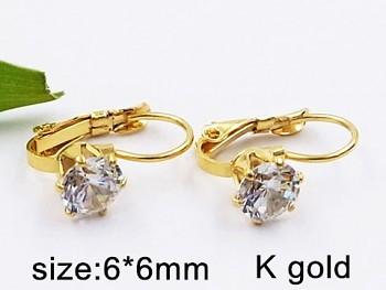 Náušnice chirurgická  ocel zlatá  Zirkon kámen krystal 20403