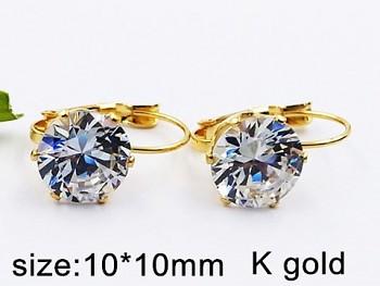 Náušnice  chirurgická ocel zlatá  zirkon kámen krystal 20405