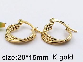 Náušnice ocelové Kruhy zlaté 20387