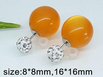 Náušnice ocelové Kuličky oranžové 20416