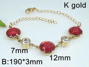 Náramek  ocelový zlatý s červenými kameny 20445