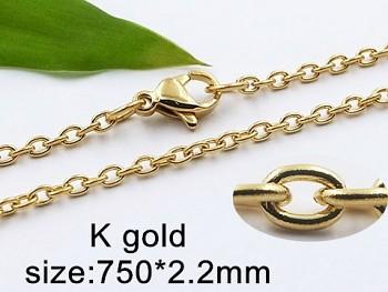 Řetízek ocelový zlatý 75 cm 20420