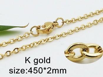 Řetízek  z chirurgické  oceli zlatý 45 cm 20435