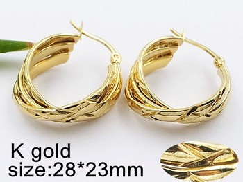 Náušnice ocelové Kruhy zlaté 20495