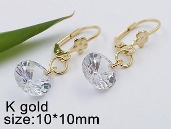 Náušnice ocelové zlaté s kamenem 20489