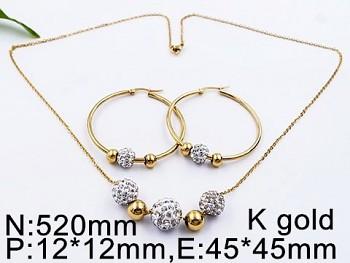 Souprava ocelová náušnice Kruhy a náhrdelník 20517