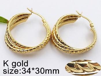 Náušnice ocelové zlaté Kruhy 20527