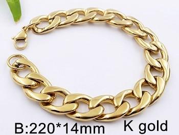 Mohutný ocelový náramek zlatý 20543
